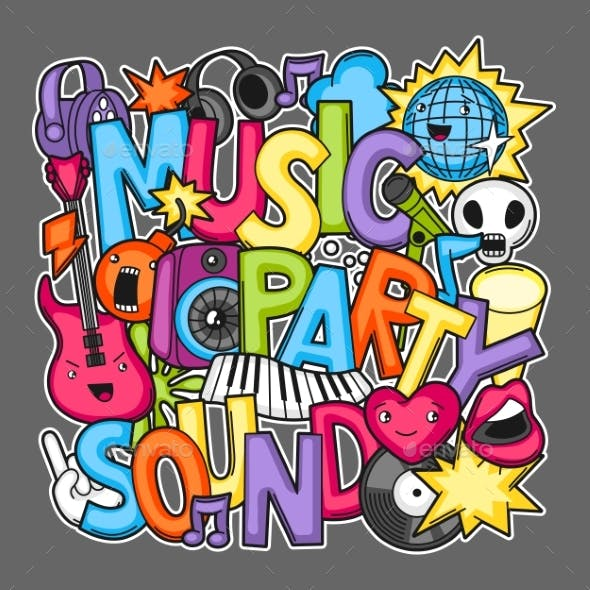 Music Party Kawaii Design Musical Instruments