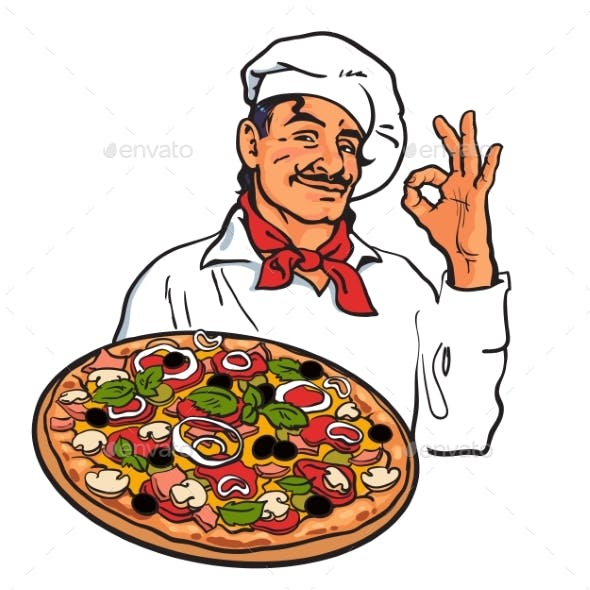 Sketch of Smiling Italian Chef Holding Pizza