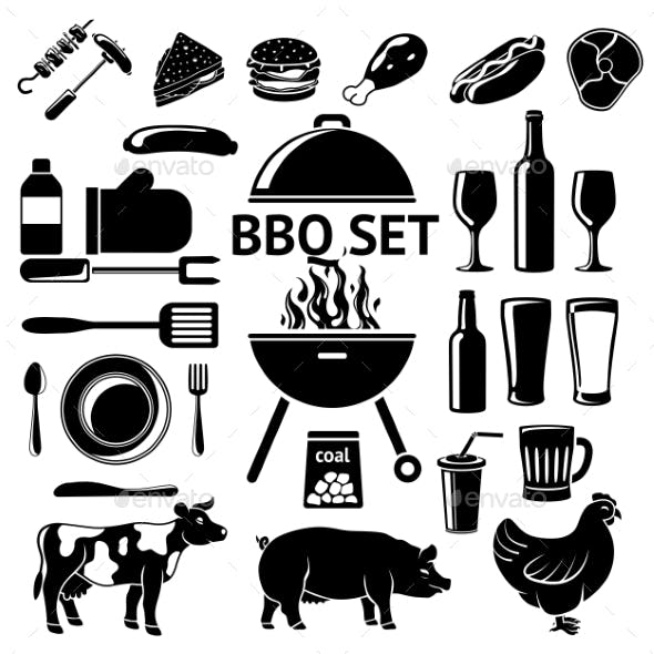 Vector Set for BBQ Party