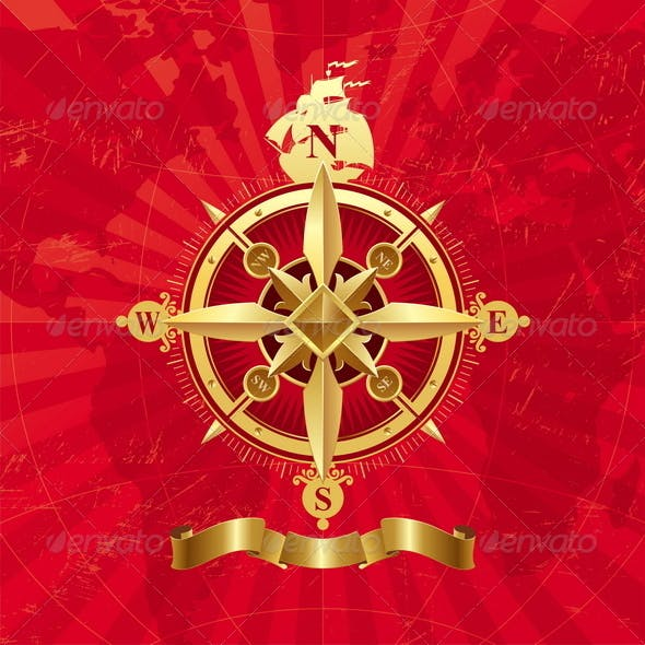 Ancient Golden Compass Rose.
