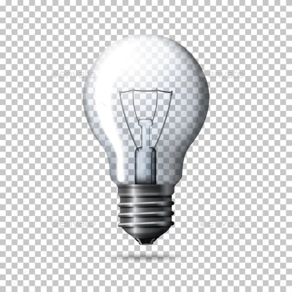 Transparent Realistic Light Bulb Isolated