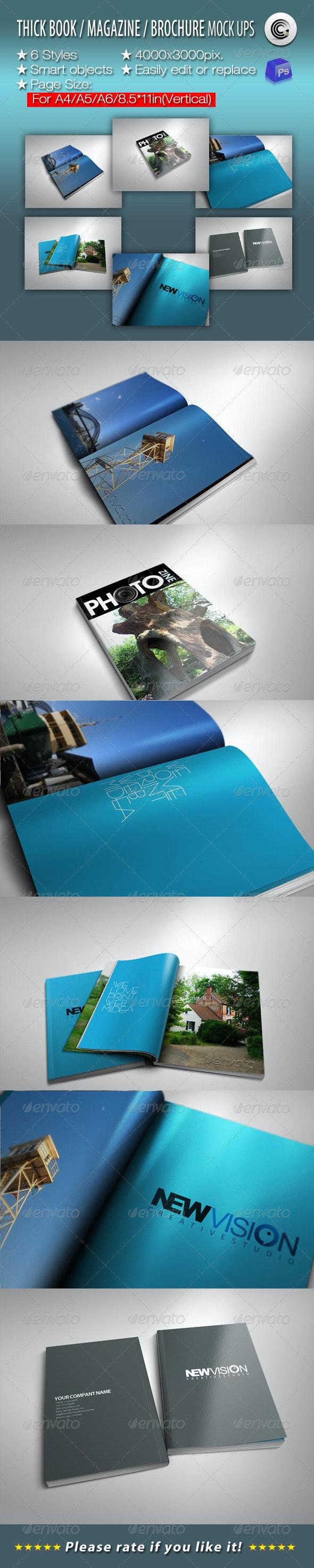 Thick Book Magazine Brochure Mock-ups - Magazines Print