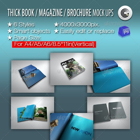 Thick Book Magazine Brochure Mock-ups