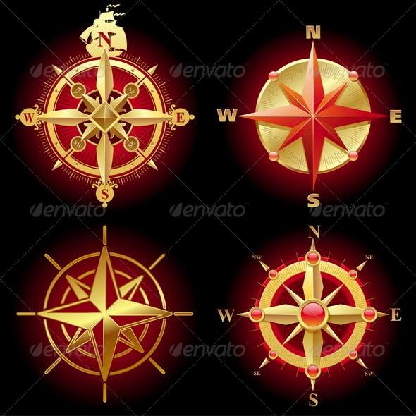 Set of Golden Compass Roses