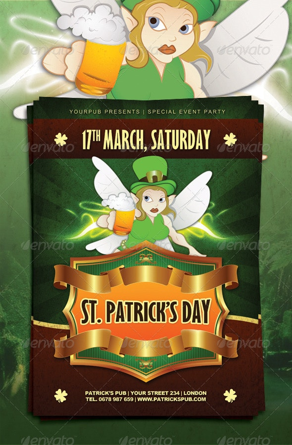 St. Patrick's Day Party Flyer Template - Holidays Events