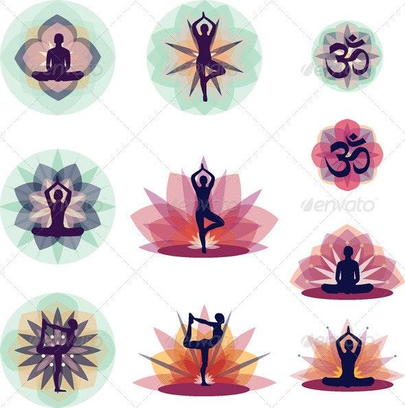 Yoga Vector Illustration Set - Sports/Activity Conceptual