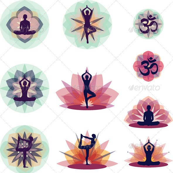 Yoga Vector Illustration Set