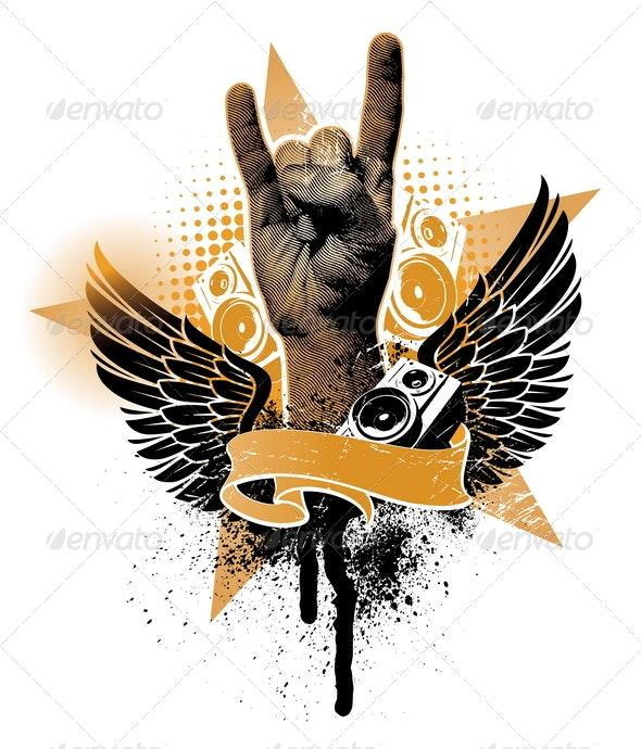 Grunge Heraldic Emblem With Hand Sign - Conceptual Vectors
