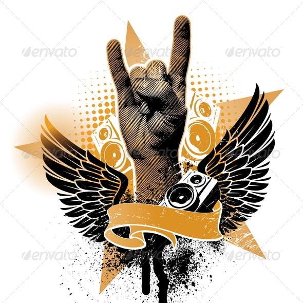 Grunge Heraldic Emblem With Hand Sign