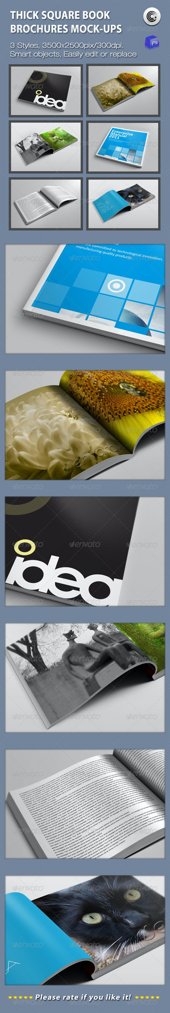 Thick Square Book  Brochures Mock-ups - Books Print
