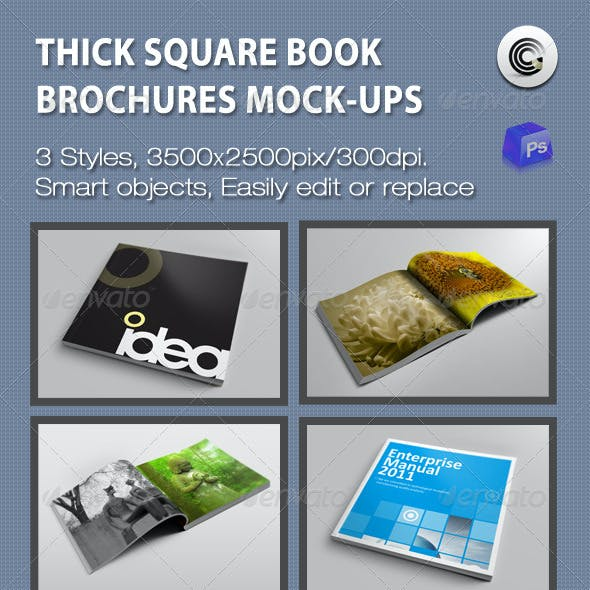 Thick Square Book  Brochures Mock-ups