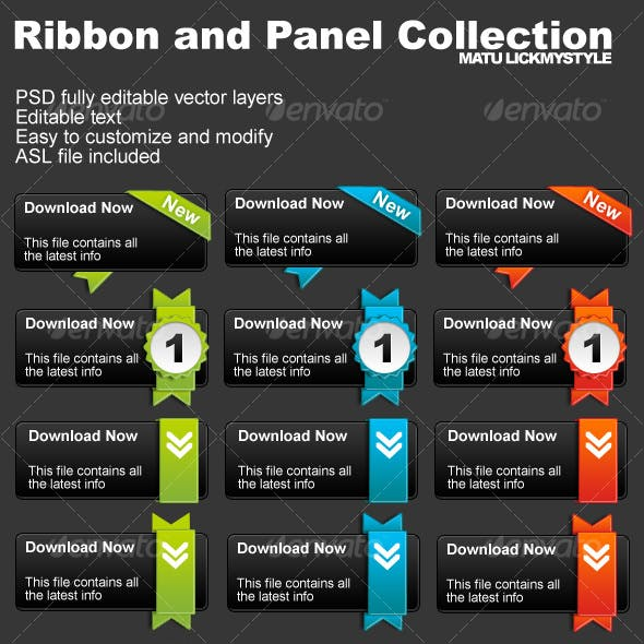 Ribbon and Panel / Button Collection