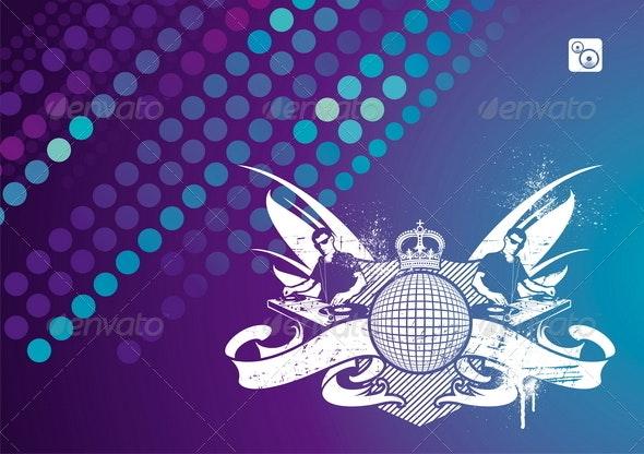 Music Emblem With DJ - Backgrounds Decorative
