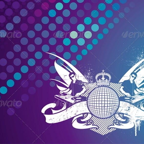 Music Emblem With DJ