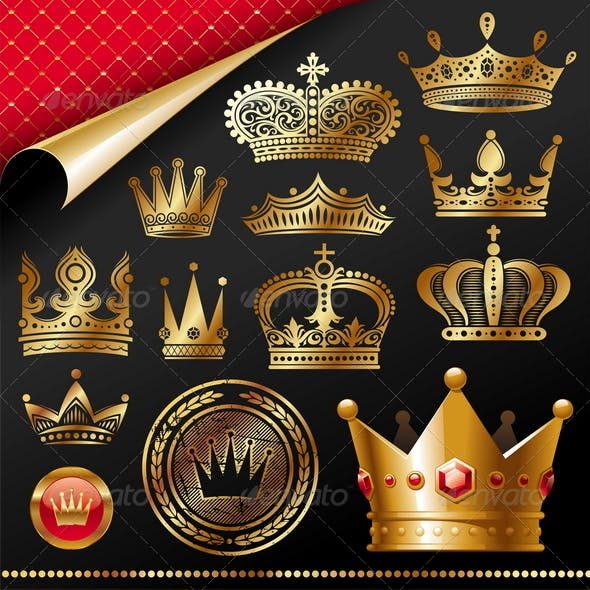 Set of Golden Royal Crown