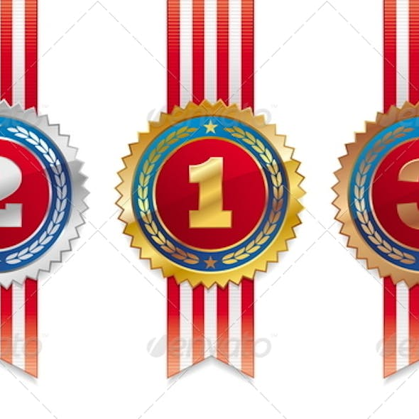 Three Medals with Ribbon