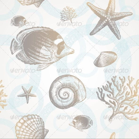 Seamless Background - Underwater Tropical Fauna