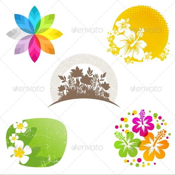 Set of Flower Emblems