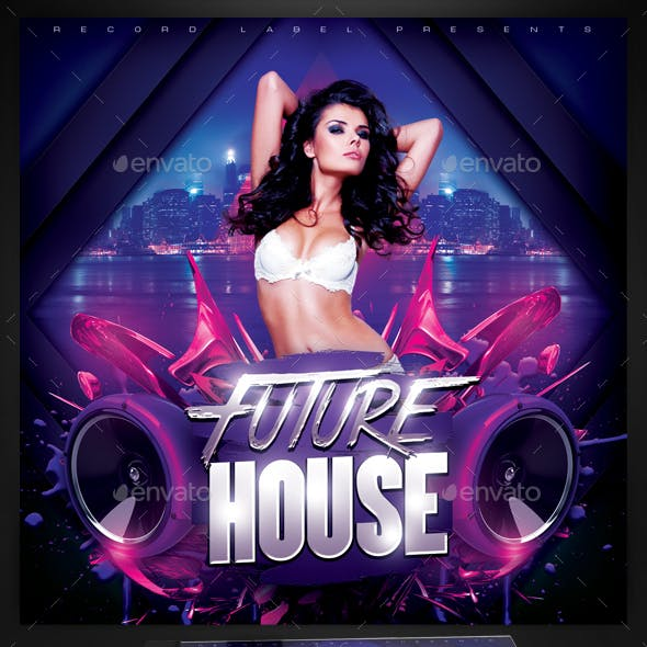 Future House Music CD Cover Template