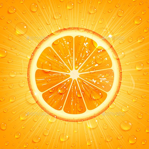 Orange Background with Water Drops