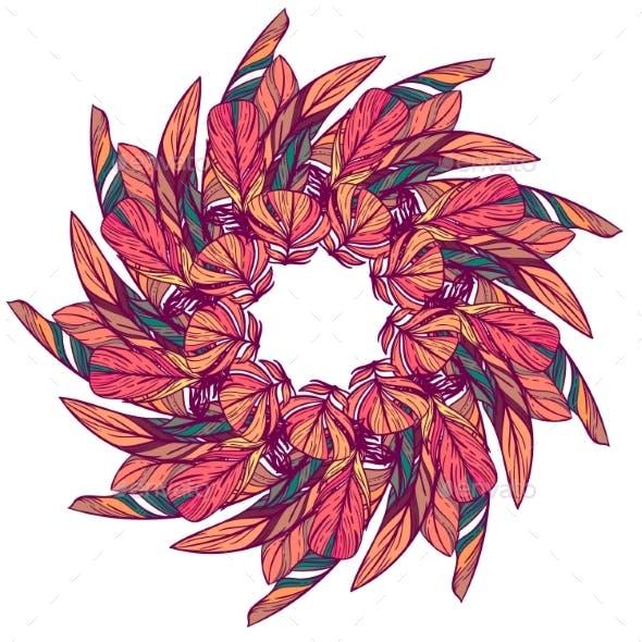 Seamless Pattern in Boho Style Round Kaleidoscope