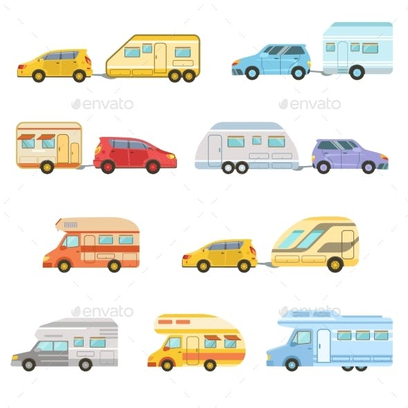 Colorful Rv Minivan With Trailer Set Of Icons
