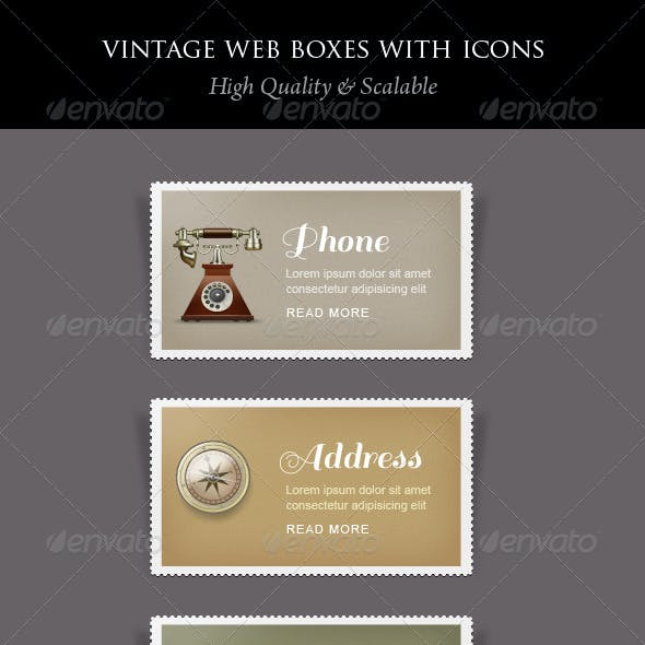 Vintage Content Boxes with Icons
