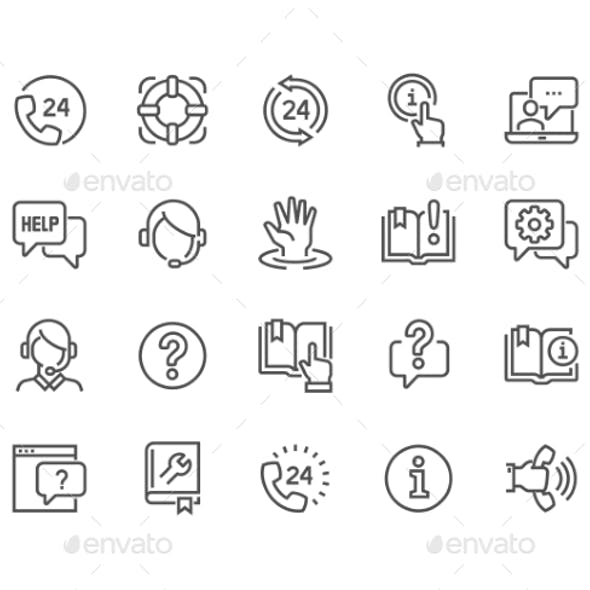 Line Help And Support Icons