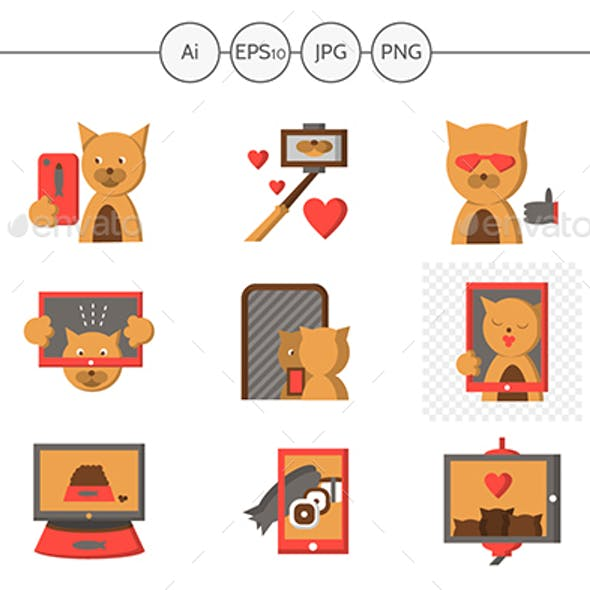 Cat Selfie Lifestyle Flat Icons Vector Collection