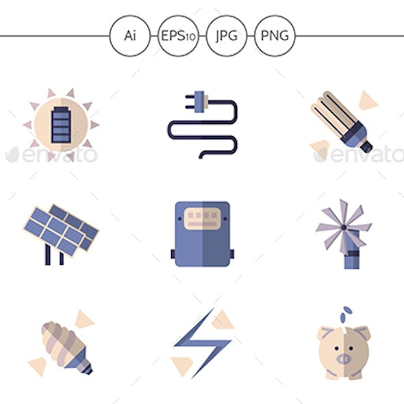 Flat Color Vector Icons for Energy Savings