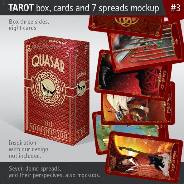 Tarot Box, Cards and 7 Spreads Mockup, Serial nr03.