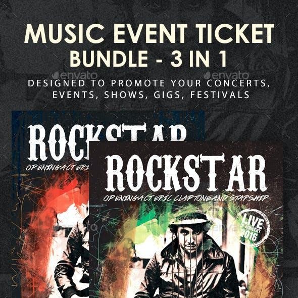 Music Concert Event Festival Ticket Bundle 3 in 1