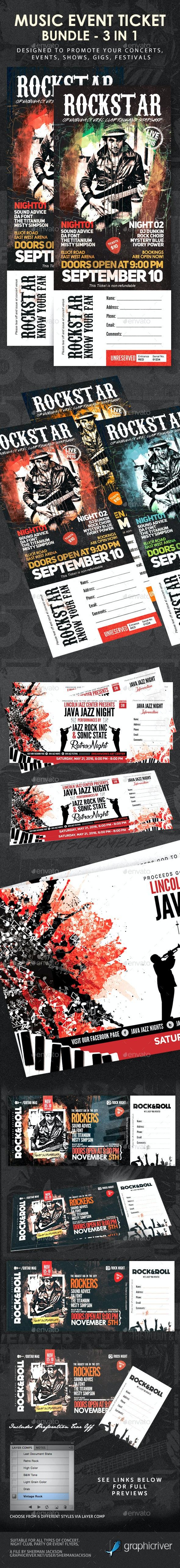 Music Concert Event Festival Ticket Bundle 3 in 1 - Miscellaneous Print Templates