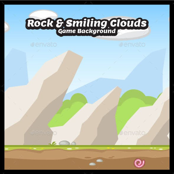 Rock and Smiling Clouds - Nature Game Background