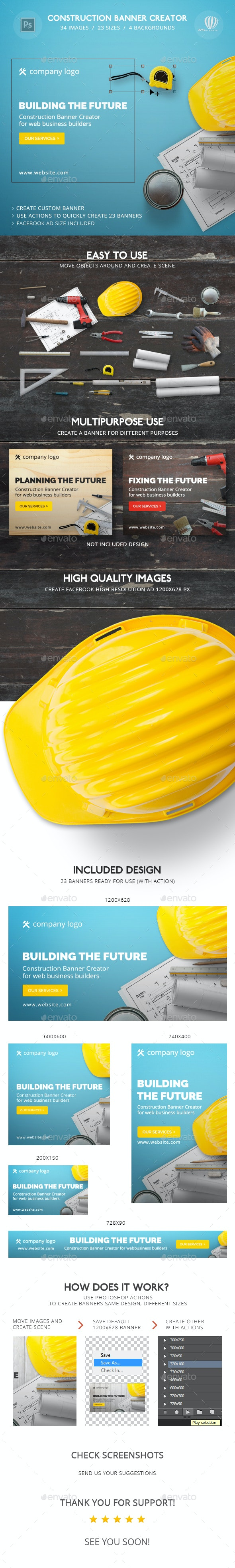 Construction Banner Creator - Banners & Ads Web Elements