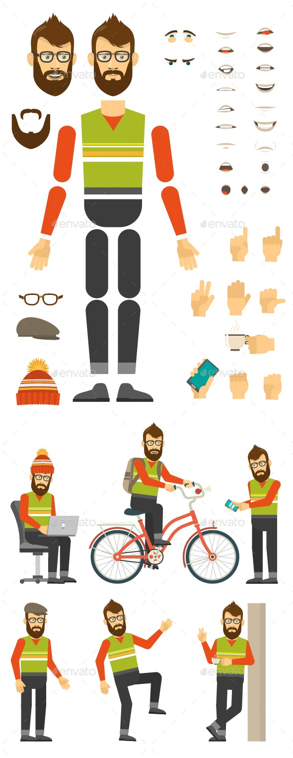 Hipster Character Creation Set - People Characters
