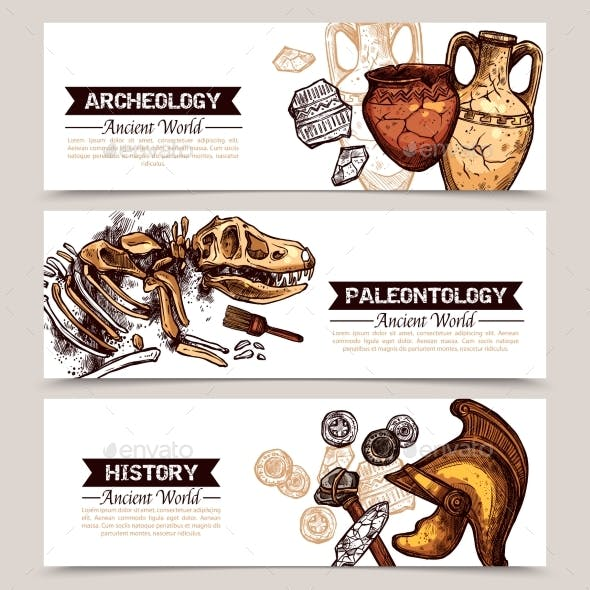 Archeology Horizontal Sketch Colored Banners