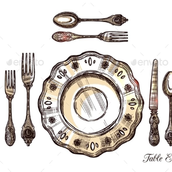 Table Etiquette Hand Drawn Illustration