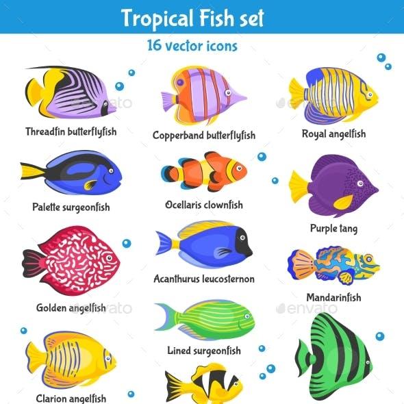 Tropical Fish Icons Set