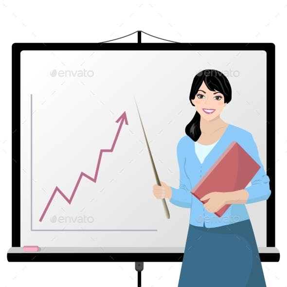 Teacher and Whiteboard with Schedule