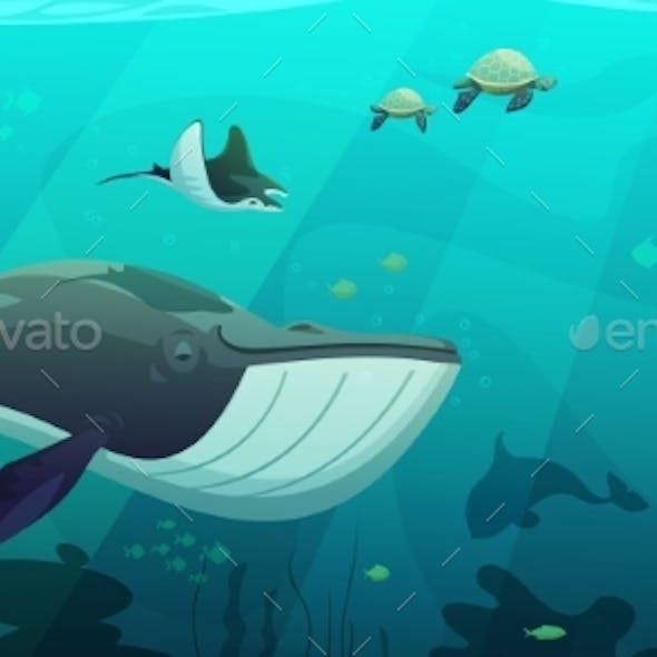 Underwater Marine Ocean Life Abstract Banner