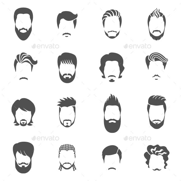 Set Of Black Icons Hairstyle Man