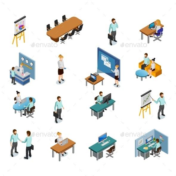Isometric Business Icons Set