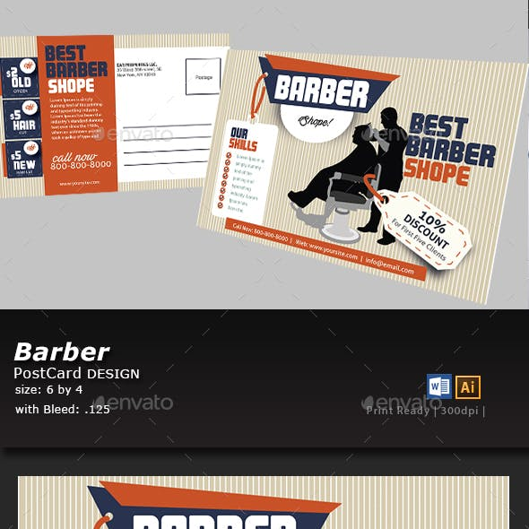 Barber shop Postcard Template