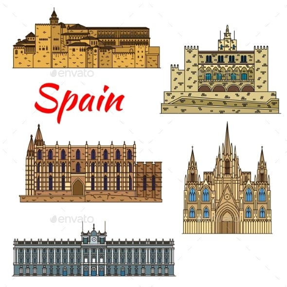 Travel Landmark Icons Of Spain