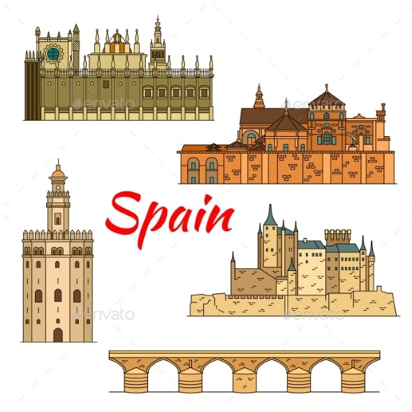 Historical Travel Landmarks Of Spain Linear Symbol