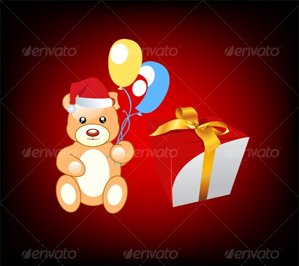 teddy with  Christmas gift - Backgrounds Decorative