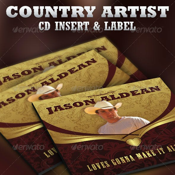 Country Artist CD Label Insert Template