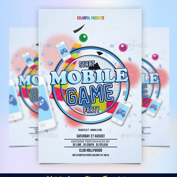 Mobile Game Party Flyer Template