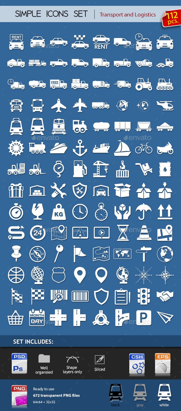 112 Transport & Logistic icons - Icons